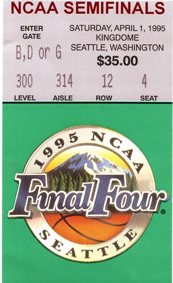1995 Final Four Semifinals Ticket Stub