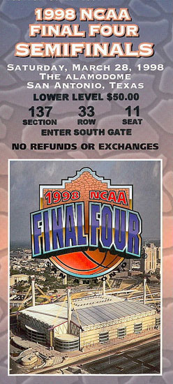 1998-3-28 Final Four Ticket Stub