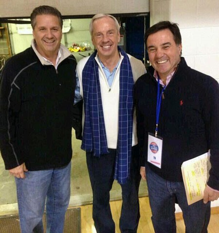 Roy Williams and John Calipari at the CRC Tournament in Wheeling, WV