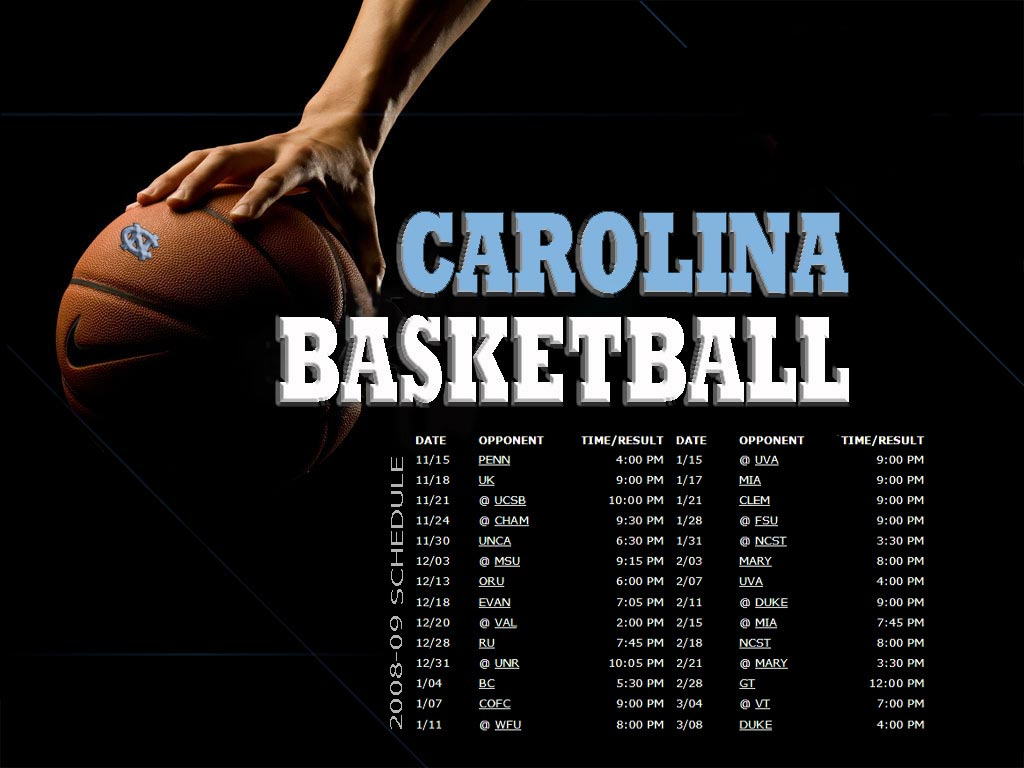 2008 09 UNC Basketball Schedule Wallpaper